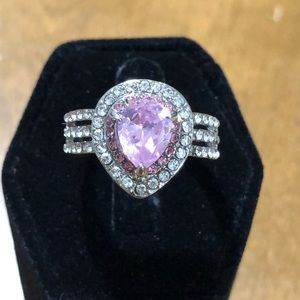 Sterling Silver Color Pink Diamonds Pear Cut Ring
